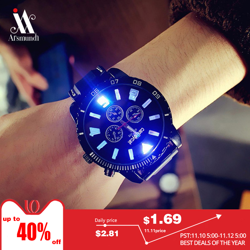 2018 New Mens Stunning Luminous Large Dial Trend Student Watch Fashion Men And Women Couple Watches Unique Watch miracle moment fashion stylelish mens womens unique hollowed out triangular dial black fashion watch ag3