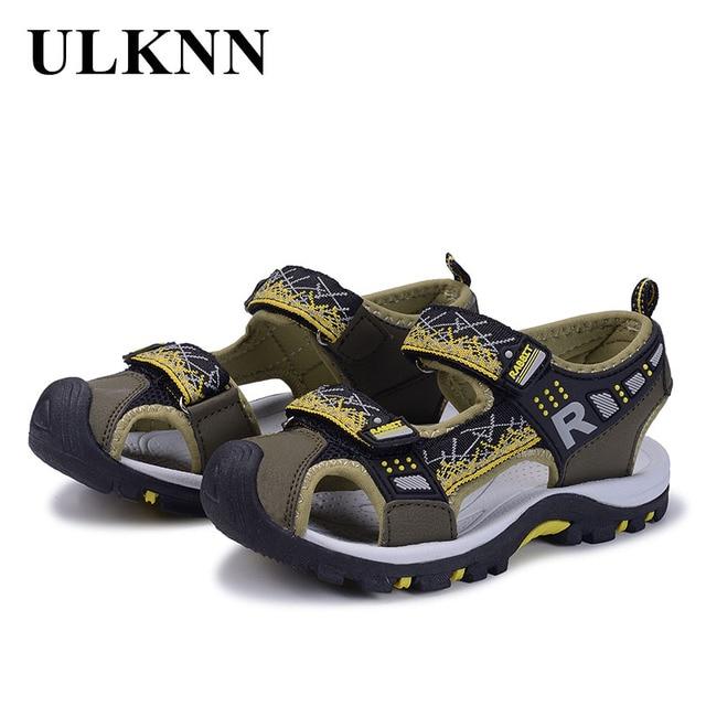 7b7534b09ca4e ULKNN Sandales Enfants Chaussures Marque Fermer Toe Orthopédiques Sport En  Cuir PU Enfant Garçons Filles Enfants