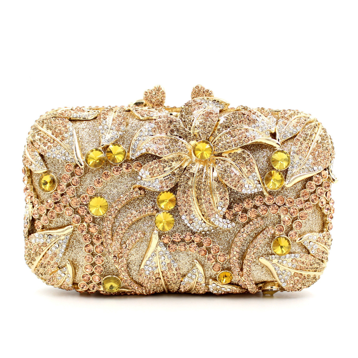 2016 New Both Side Diamond Flower Crystal Beaded Evening Bag Clutch Bags Hot Styling Day Clutches Lady Brides Wedding Purse