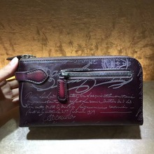 TERSE_Hand patina clutch bag with wrist loop luxury leather Italian calfskin wallet for business male 3 colors document bag