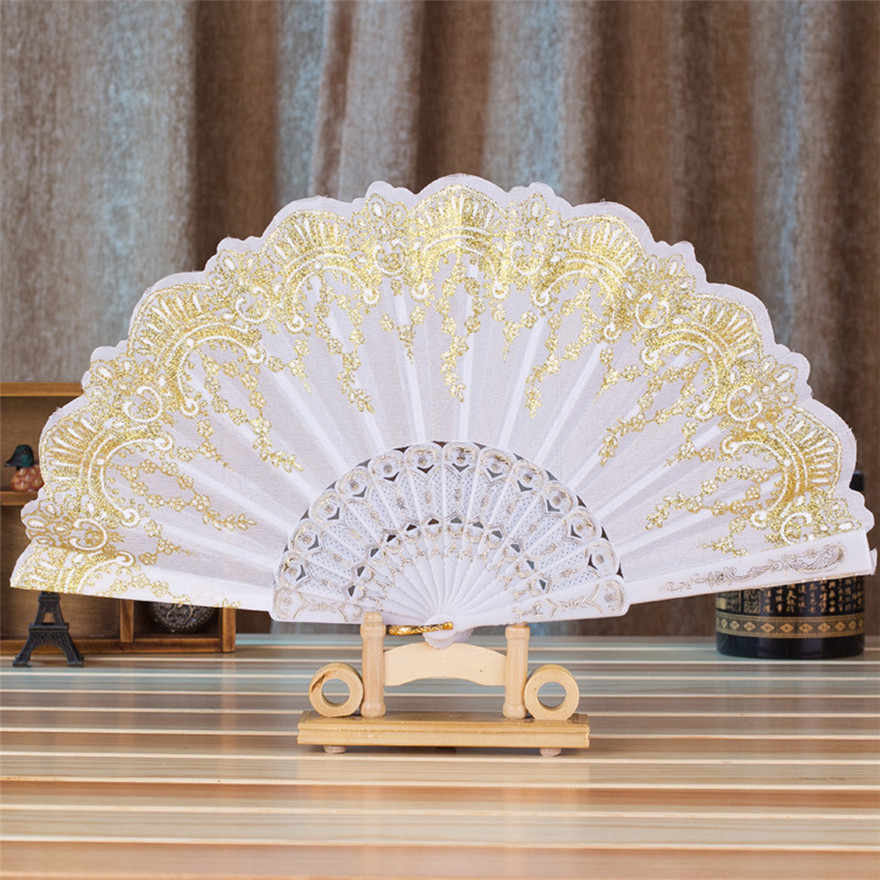 2018 hot fashion Chinese/Spanish Style Dance Wedding Party Lace Silk Folding Hand Held Flower Fan for stage performances #0613