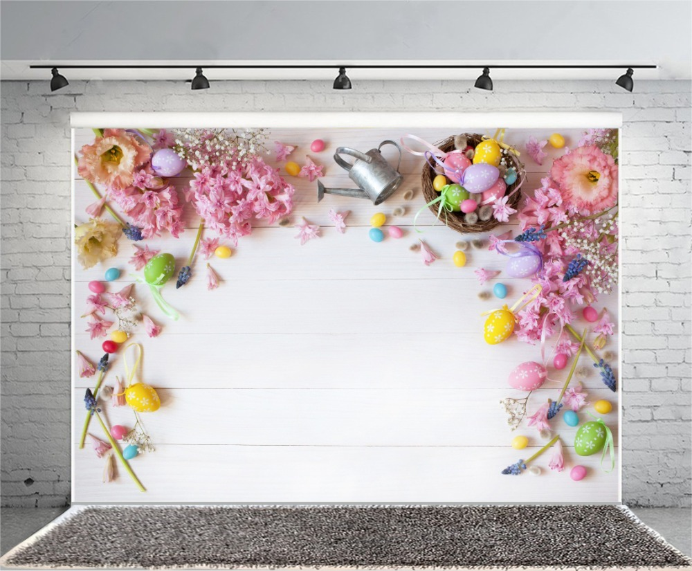 Laeacco Easter Eggs Flowers Planks Photo Backgrounds Vinyl Digital Customized Photography Backdrops For Photo Studio laeacco grunge old wood planks wooden texture baby photography backgrounds vinyl custom photographic backdrops for photo studio