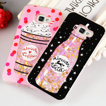 Quicksand Case for Samsung Galaxy A5 2017 Cover Bottle Silicone Case For Coque Samsung A5 2017 Sweet Girl Dynamic Liquid Glitter(China)