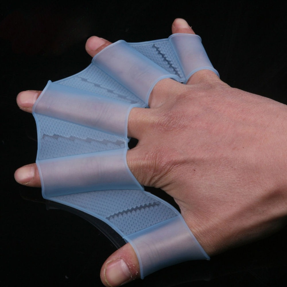 1 Pair Silicone Swim Gear Fins Hand Paddle Web Flippers Training Webbed Gloves