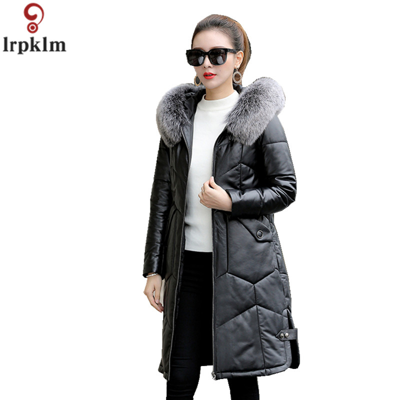 Women Winter Genuine Leatherr   Down     Coat   2018 New Fashion Slim Winter Jacket Women   Down   Jackets Fur Fox Collar Long Outwear CH679