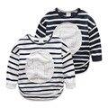 spring 2017 baby boys girl full sleeve t shirt for children white blue striped cartoon print kids 100 cotton sweatshirt FD025