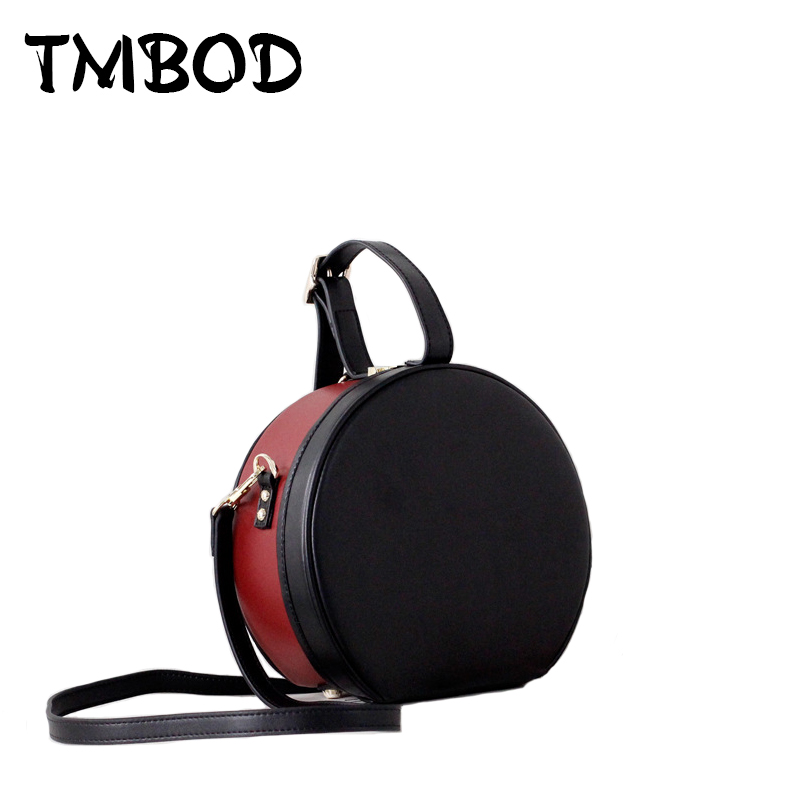 New 2018 Design Women Panelled Barrel-shaped Tote Messenger Bag Split Leather Handbags Lady Crossbody Bags For Female an938 сумка playstation shaped messenger bag