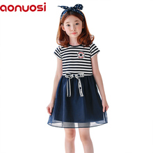 baby girl summer clothes 2018 new children stripe Short sleeve bowknot Round collar princess blue A-line Best