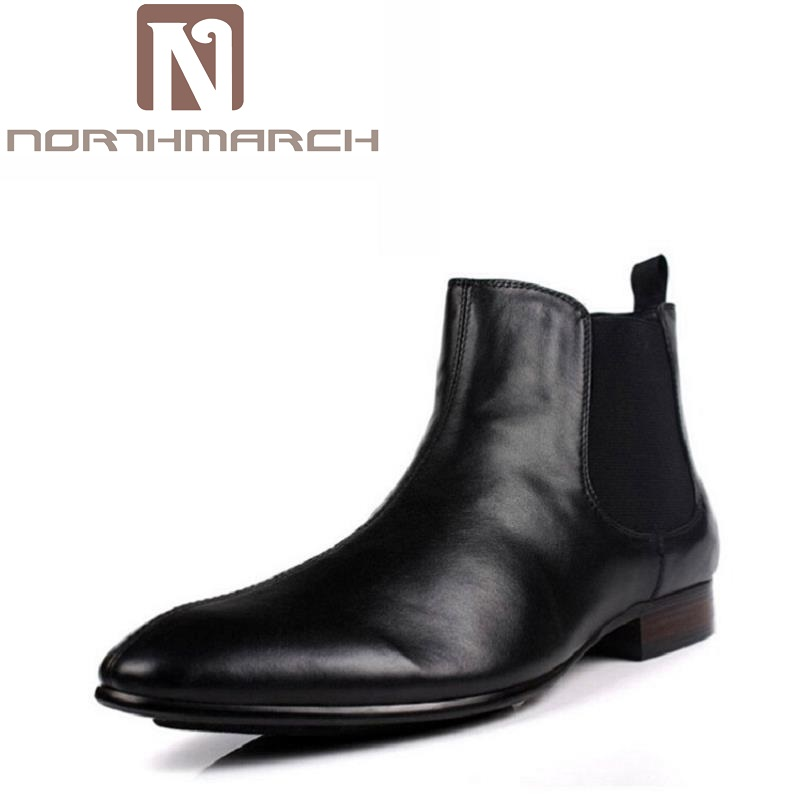 NORTHMARCH Brand Fashion Men Shoes Winter Soft Leather Male Ankle Boots High Top Chelsea Boots Round Toe Work Dress Shoes Botte