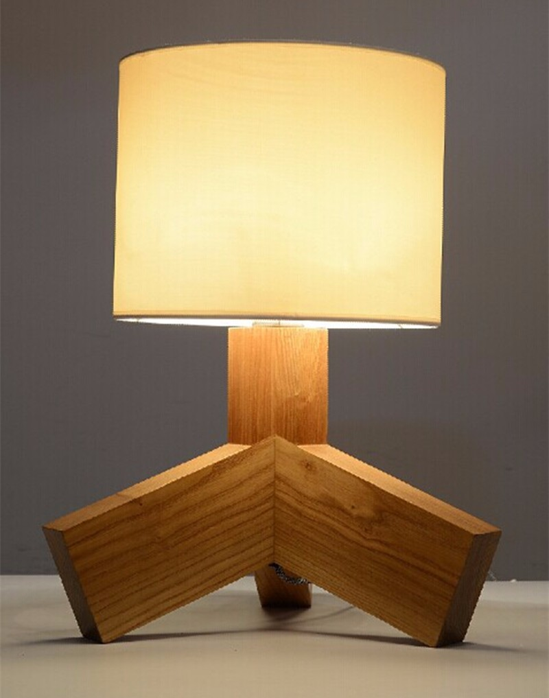 Brief Design Wooden Table Lamp 420*330*250mm E14 Wood&Cloth White Desk Light For Study Room,Bedroom Home Decoration WTL004 wooden table lamp 280 280 400mm e27 wood cloth white desk light for study room bedroom home decoration living room wtl014