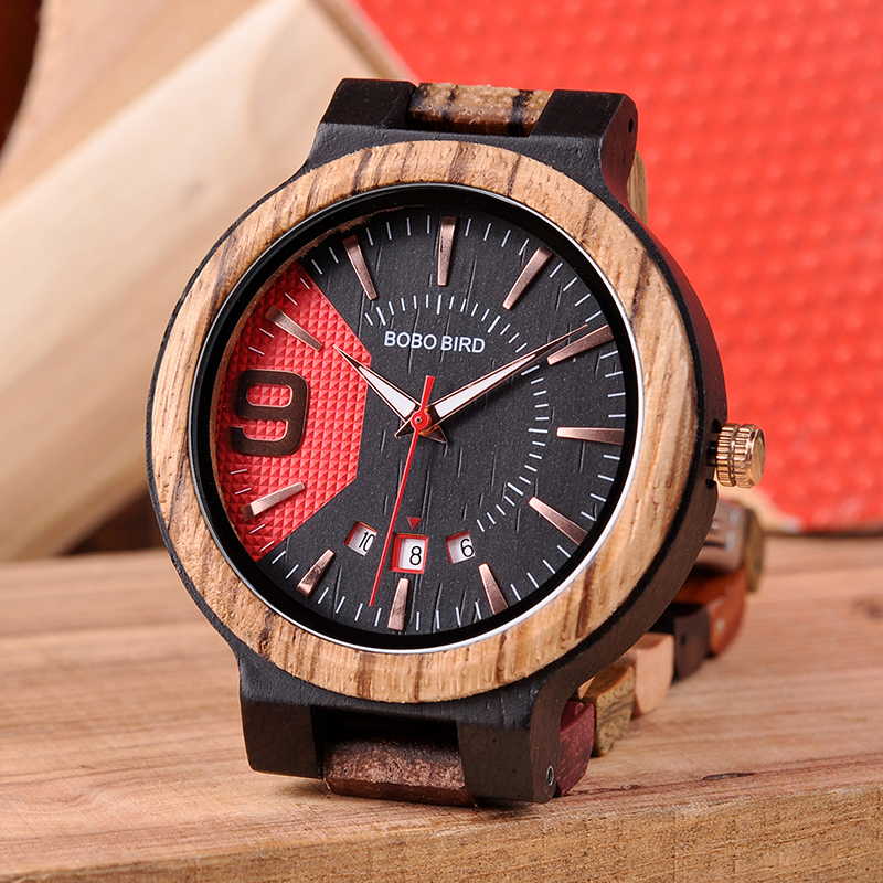 BOBO BIRD Wooden Watch Men Show Date Qartz Wristwatch Male Relojes Hombre Clock Colorful Strap Wooden Box Saat Erkek Drop Ship