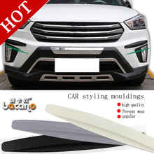 bacano 2pcs/set Car Bumper Protector Guard Corner Strip Sticker Carbon Fiber Auto Body Protector Car-Styling Black Car Accessori