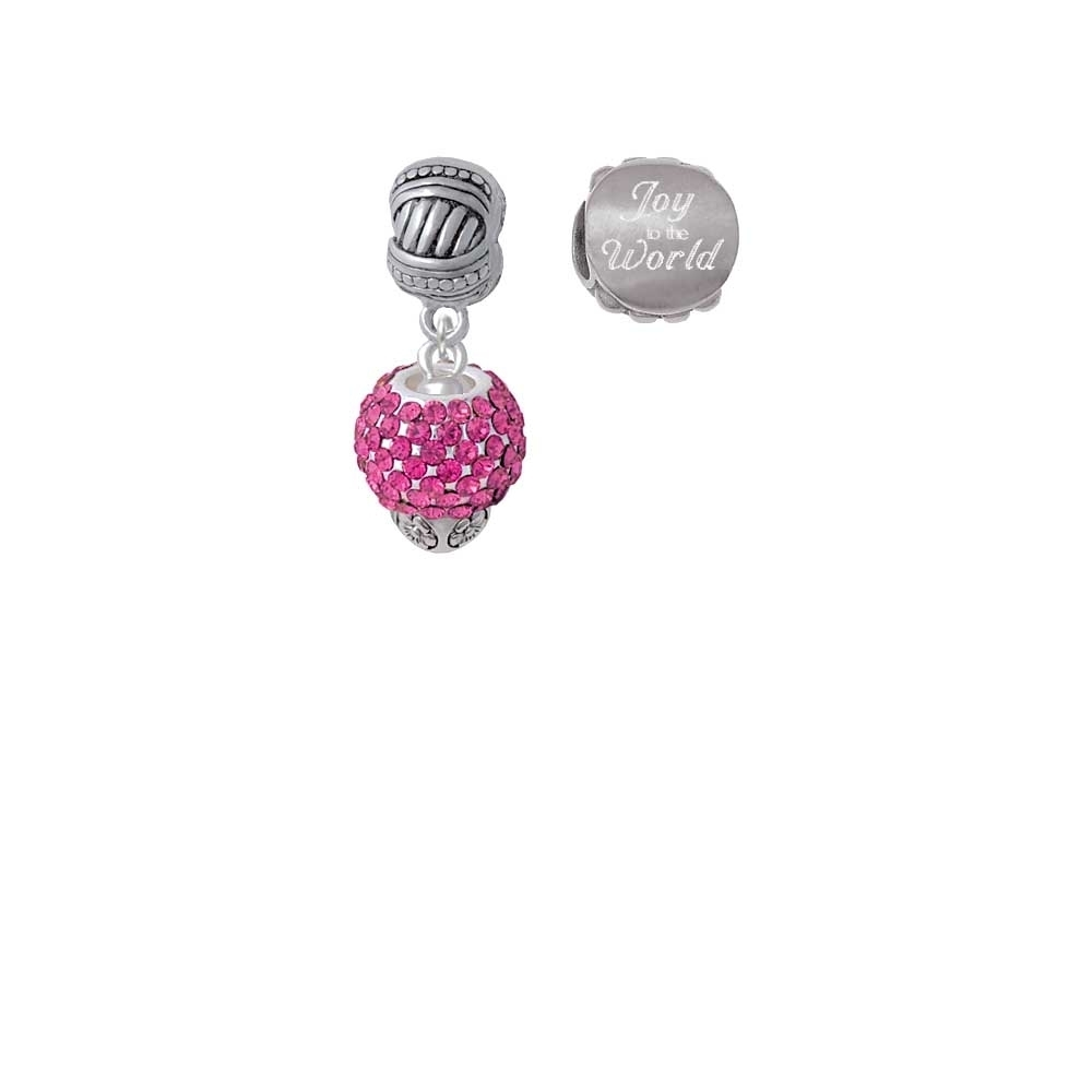 Silvertone Hot Pink Crystal Sparkle Spinner Joy to the World Charm Beads (Set of 2) easter sparkle 3rd hot pink white dot top rainbow stripe skirt set 1 8y mamh170