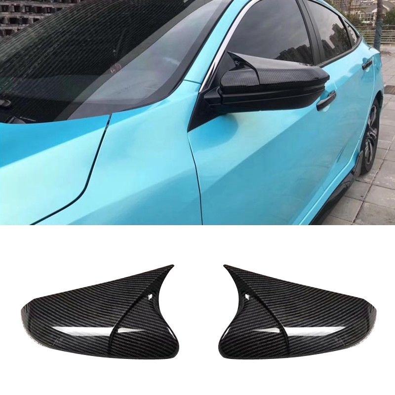 2019 ABS Carbon Fiber Horn Rearview Side Mirror Cover Shell Rearview Mirror Edge Guards Cover For