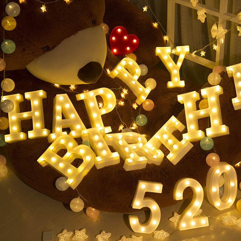 26 Letters Number 0-9 Warm Light Lamps LED Night Light Marquee Sign Alphabet Lamp For Birthday Wedding Party Hanging Decoration