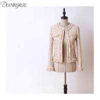 2018 New Women fashion elegant tweed coat fringe tassel chains small pockets office lady formal outerwear jacket