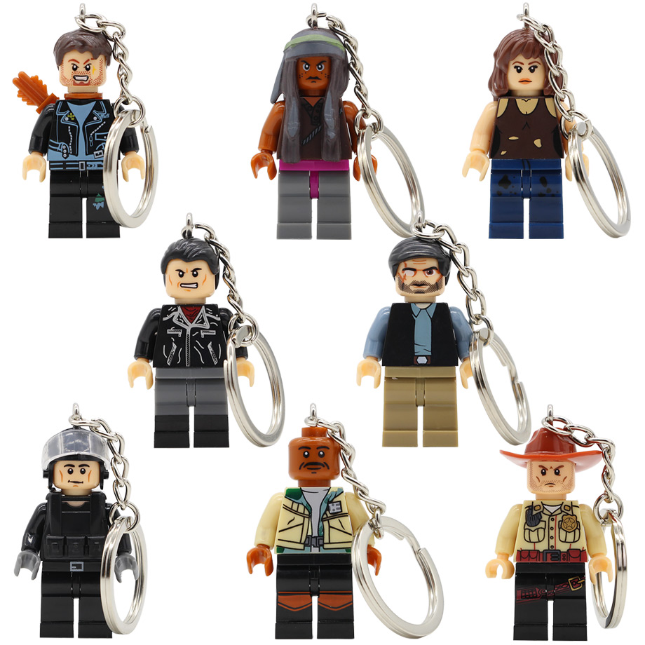 Zombie Walking Dead single sale Figure Keychain Rick Grimes Calro Carl Negan Daryl Dixon Morgan Building Blocks Set Bricks Toy building blocks the walking dead figures rick negan carl daryl star wars super heroes set assemble bricks kids diy toys hobbies