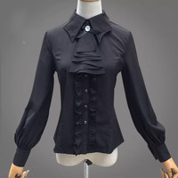 Adult Women Autumn Victorian Vintage Noble Costume Black Jabot Ribbon Tie Frill Blouse Ruched Button Up Formal Shirt For Ladies