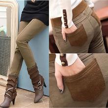 women Velvet Thick Legging 2018 Autumn Winter Women Pants Female Patchwork Pencil Trousers Plus Size S-4XL Leggings free shippin