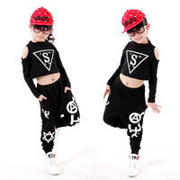 Children Hip Hop Dance Costume Personality Girl Dancing Clothing Kids Jazz Clothing Set Vest T Shirt