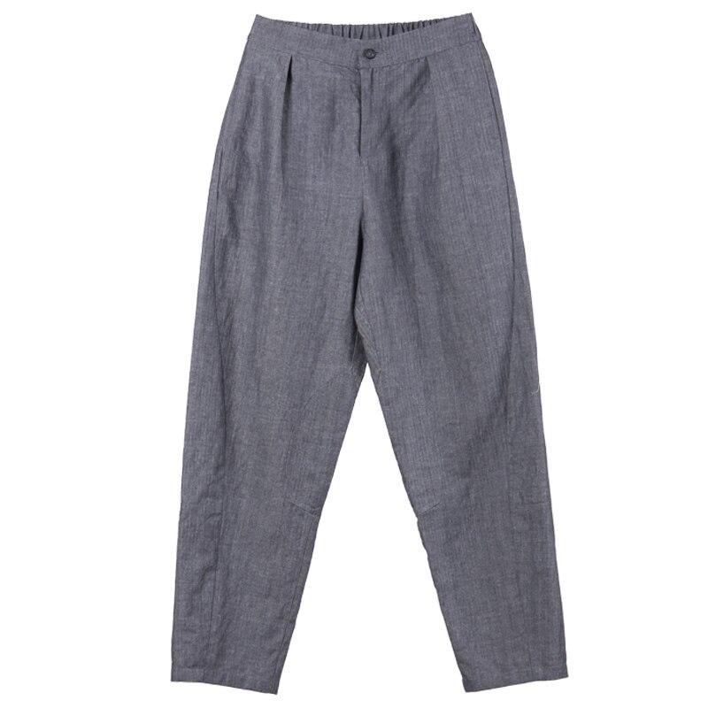 Nove Art Spring E Pantaloni Carota Pendolarismo Lino Cotone Punti New Di Casual Selvaggio Grigio In Originale Guida S7n4Xw