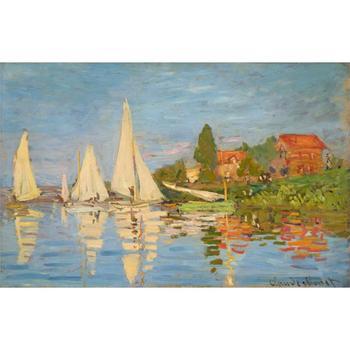 oil Painting room decor Regatta at Argenteuil by Claude Monet Landscape art Handmade High quality