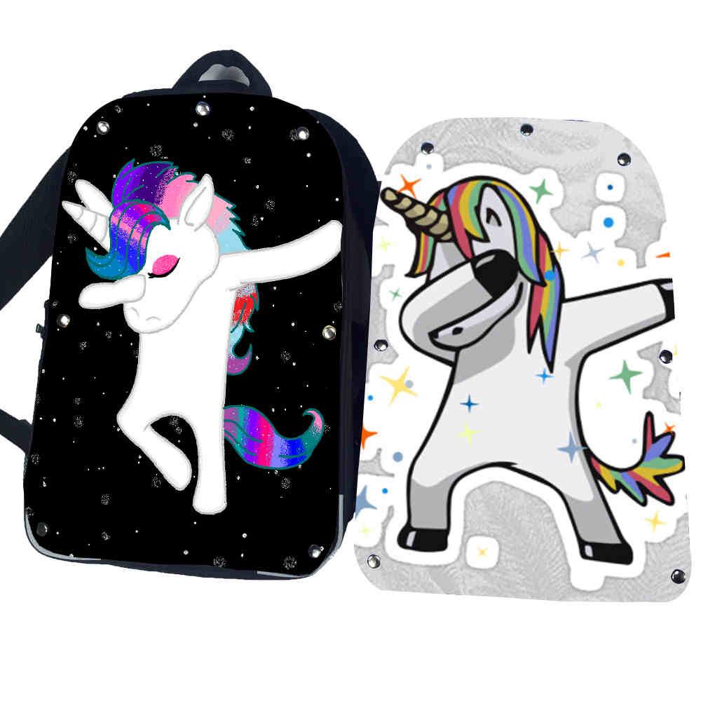 Funny Dabbing Unicorn Backpack Pug Teenagers Boys Dab FNAF