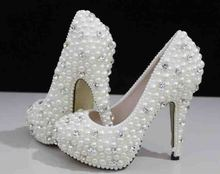 2016  Luxurious  with Imitation Pearl High Heel Ecru White Party Prom Shoes Wedding Dress Shoes Woman Party Prom Shoes