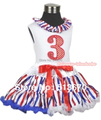 White Tank Top Red White Blue Striped Satin Lacing & 3rd Sparkle Red Birthday Number Red White Blue Striped Pettiskirt MAMG616