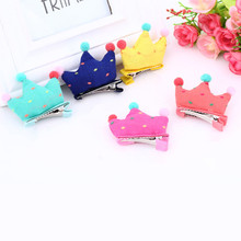 Lovely gilrs headwear charms fabrics tiaras barrettes baby crown fringe hairpins 5 colors candy hair clamps 20pcs/lot
