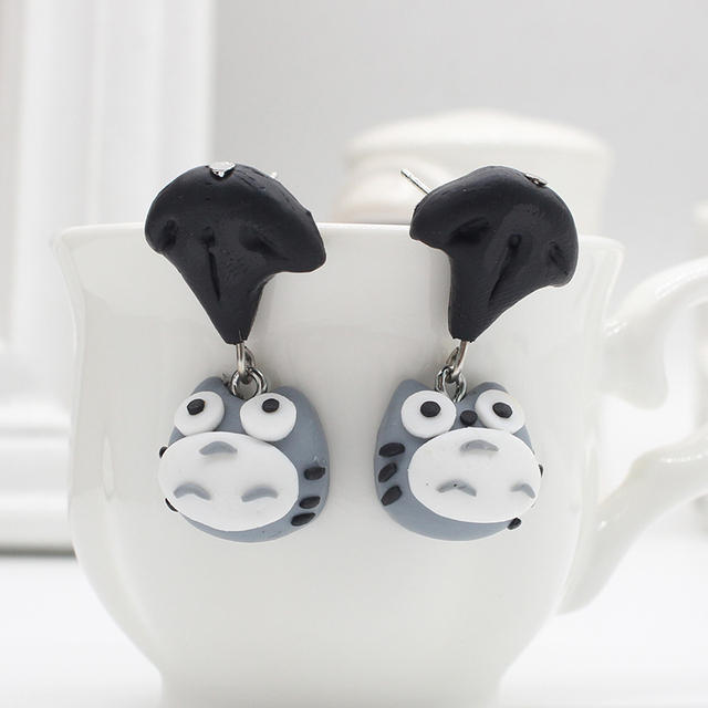 Totoro Polymer Clay Ear rings