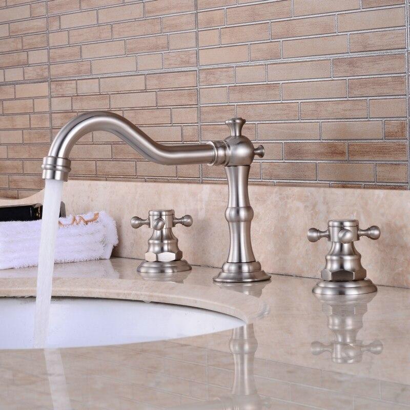Палуба установленный 3 отверстия ванна ванна смеситель кран матовый никель широкий двойной крест ручки ванная раковина смеситель anf028