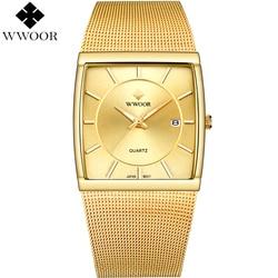 WWOOR Watch Men Quartz Waterproof Square Clock Mens Watches Brand Luxury Stainless Steel Gold Male Wrist Watch relogio masculino