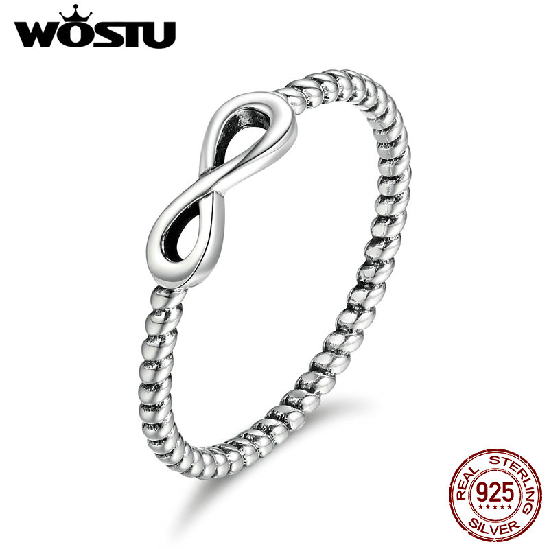 WOSTU High Quality Authentic 100% 925 Sterling Silver Infinity Love Rings For Women Fashion Jewelry Gift CQR094