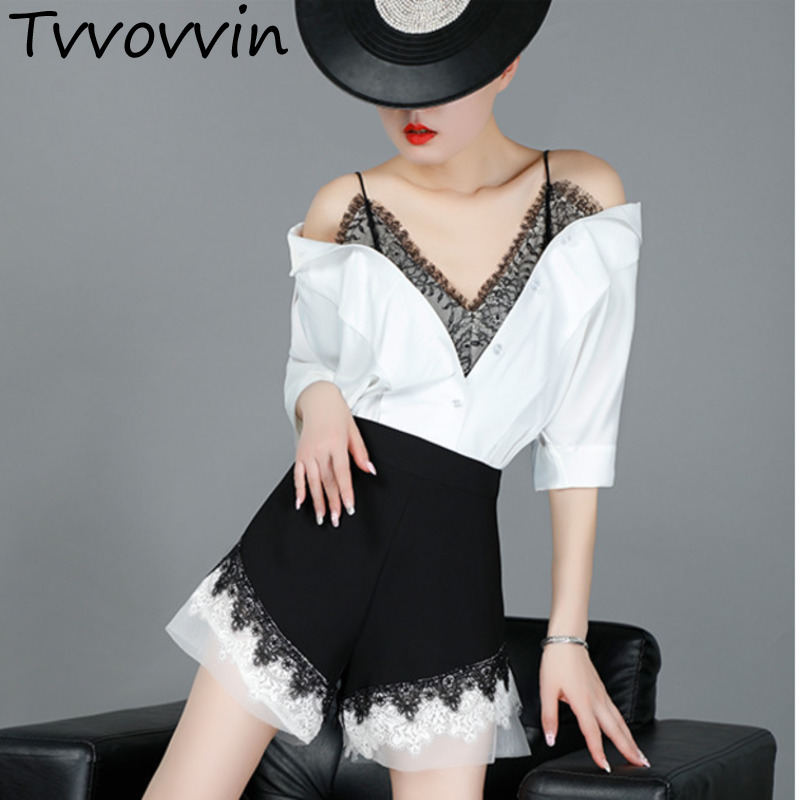 TVVOVVIN 2019 New Fashion Women Clothes Straps Lace Short Batwing Sleeves Cotton   Shirt   Female   Blouse     Shirt   Tops V091