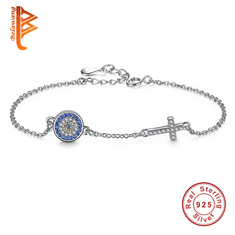 BELAWANG 925 Sterling Silver New CZ Cross Bracelet Blue Crystal Round Shape Link Chain Bracelets For Women Jewelry Pulserias