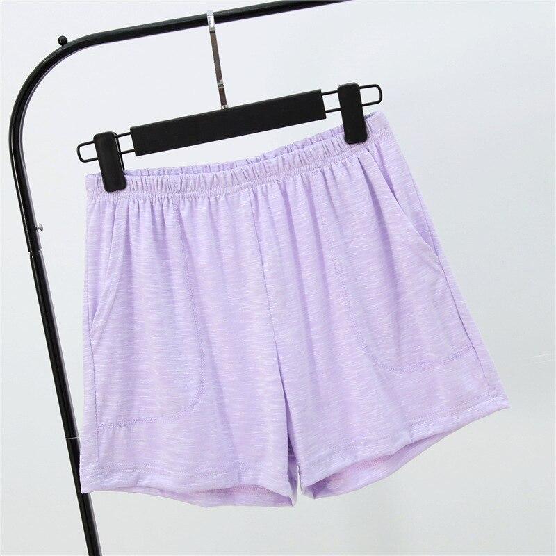Летние женские шорты, тянущиеся, бамбуковые, хлопковые Пижамные штаны, свободная одежда для жизни, одноцветные женские штаны, нижнее белье, одежда для сна, пижама - Цвет: Light purple