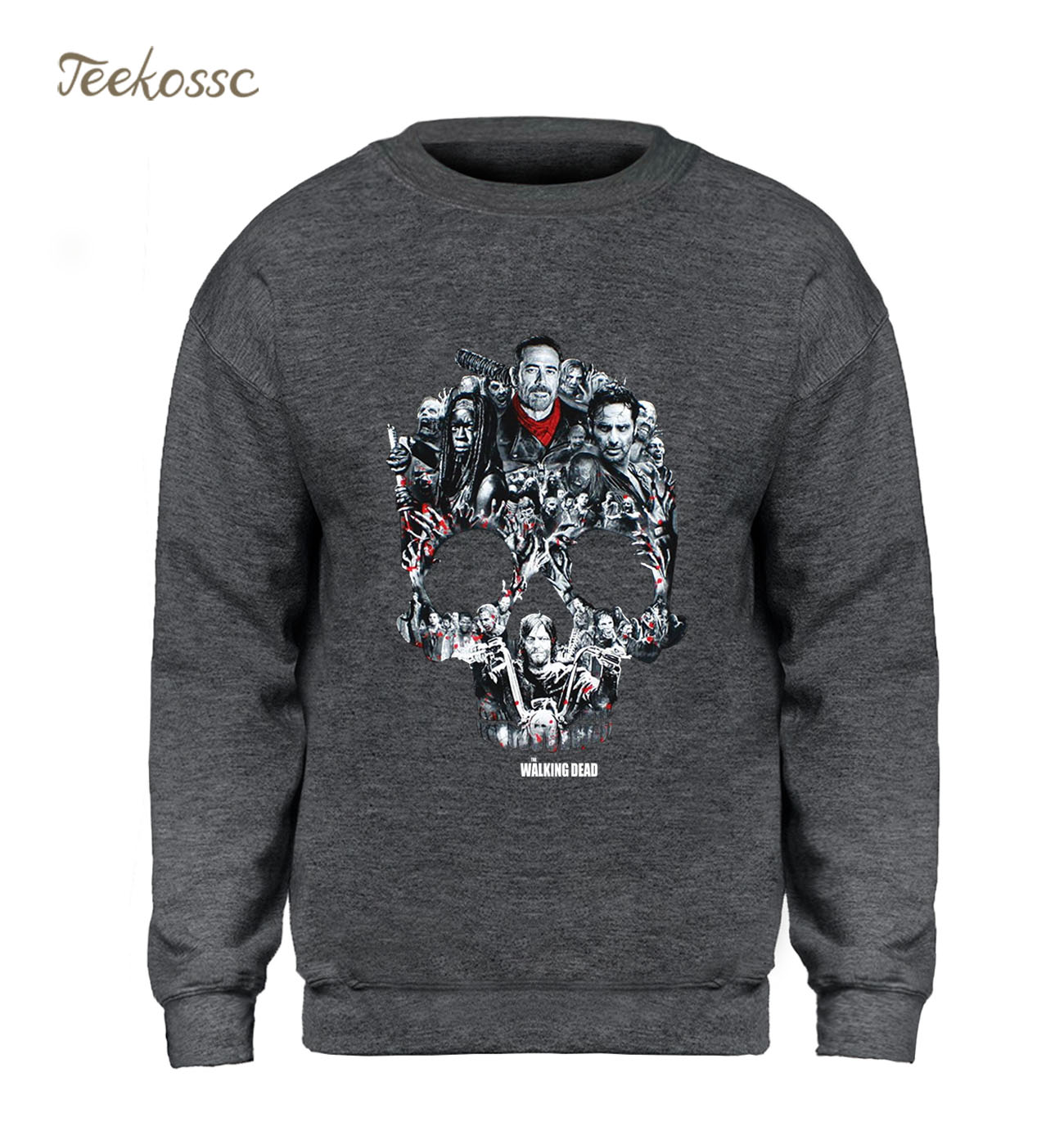 The Walking Dead Sweatshirt Men Skull Hoodies 2018 Winter Autumn Hip Hop Sportswear Brand Clothing Black Gray Sweatshirts Homme