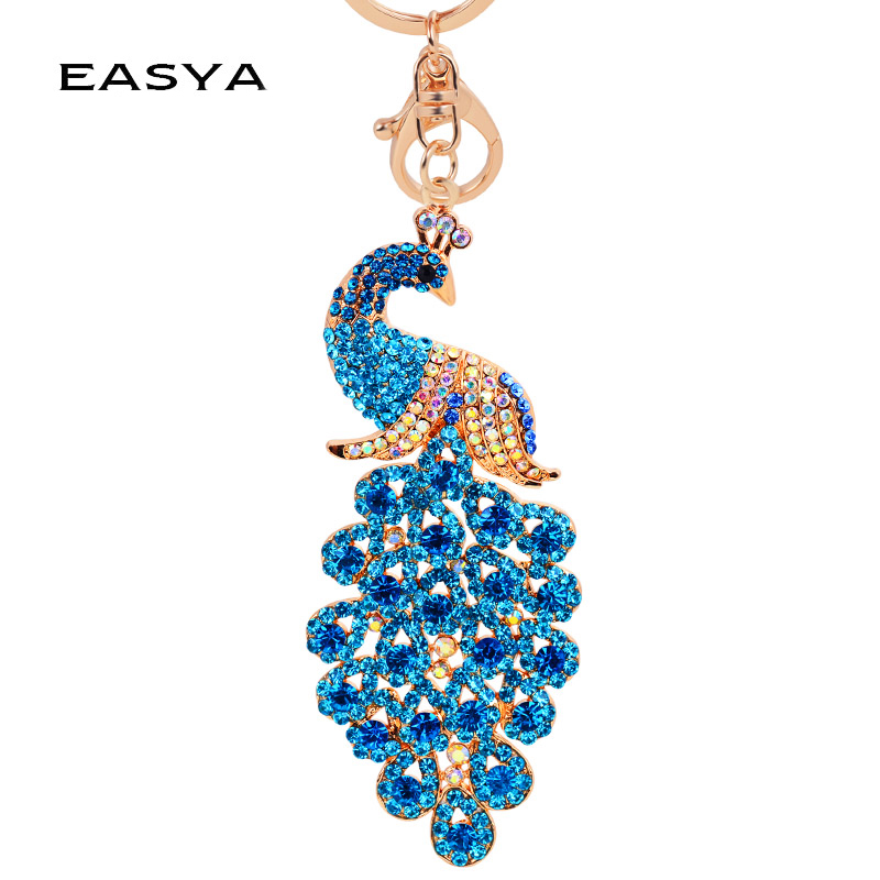 EASYA 4 Colors Bling Rhinestone KeyChain Elegant Colorful Peacock Keychain Peafowl Peahen Keyring Bag Pendant Car Key Chain Ring