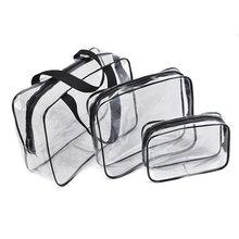 Hot 3pcs Clear Cosmetic Toiletry PVC Travel Wash Makeup Bag Black