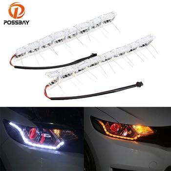 POSSBAY Waterproof Flexible Auto Lights Strip Car Day Running Head Light Signal W/Indicator Flash Car LED Strip Luces Coche