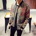 Новый 2016 осень в европе и америке стиль моды цифровой цветочным принтом шерстяные бомбардировщик куртка мужчины мужская одежда размер m-5xl JK11