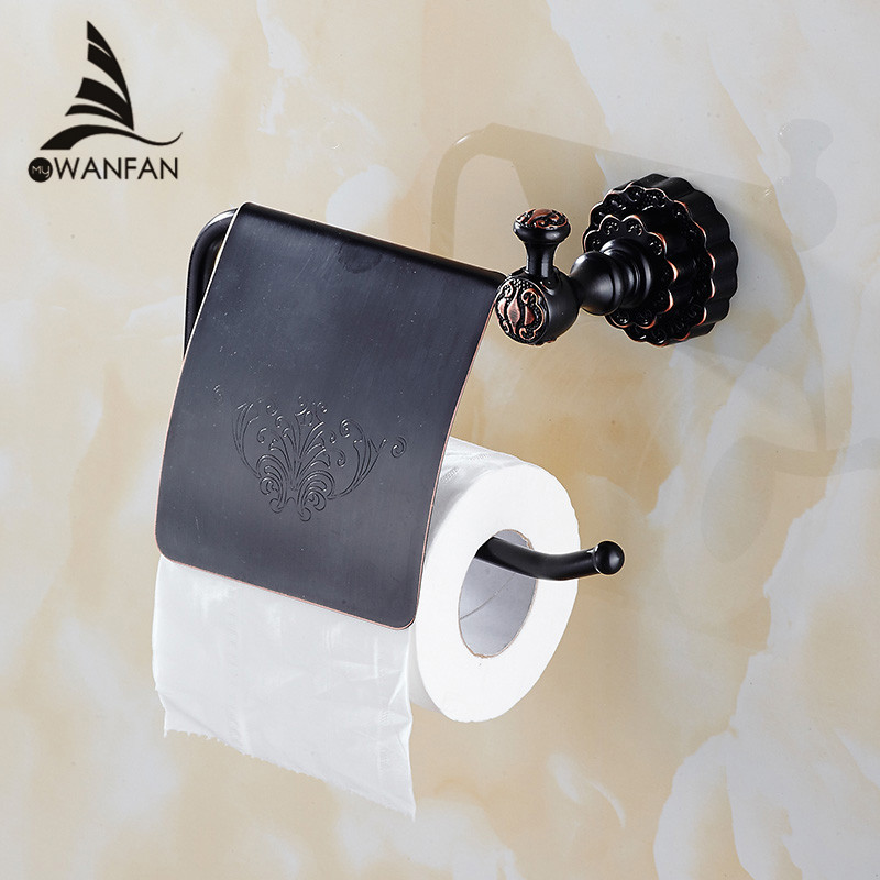 New Bathroom Toilet Paper Holder With Cover Brass Roll Tissue Rack Carved Pattern Base Paper Shelf Wall Mounted FE-8611 free shipping antique brass creative wall mounted flower carved bathroom brass toilet paper holder tissue roll with soap dishes