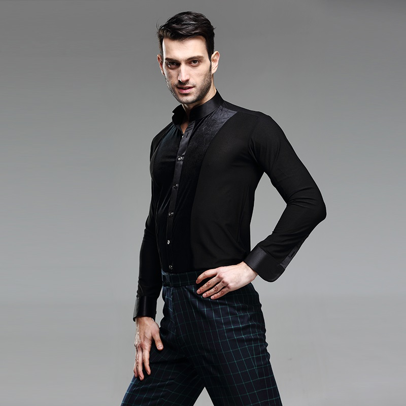 Picture of Black Ballroom Dance Shirt Mens Latin Shirt Mens Ballroom Shirts Men #39;S Latin Dance Costumes Dance Top Mens Ballroom Dancewear