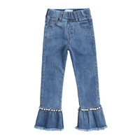 Girl jeans spring and autumn dress big boy fashion flared pants little girl foreign gas pants cross border wholesale