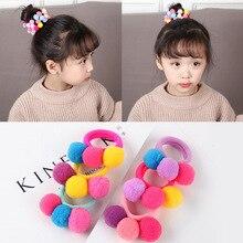 цена на New Cute 3 Colorful Ball Hair Ties Girls Kids Elastic Hair Bands Hairband Scrunchies Hair Rope Rubber Korean Hair Accessories