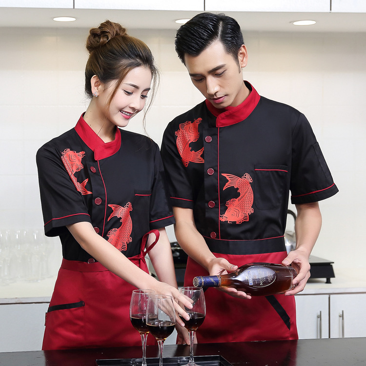New Short Sleeve Chef Uniform, Chef Wear Summer Cake Work Clothes Hotel Kitchen Staff Jacket Male Overalls Kitchen Suit B-6240(China)