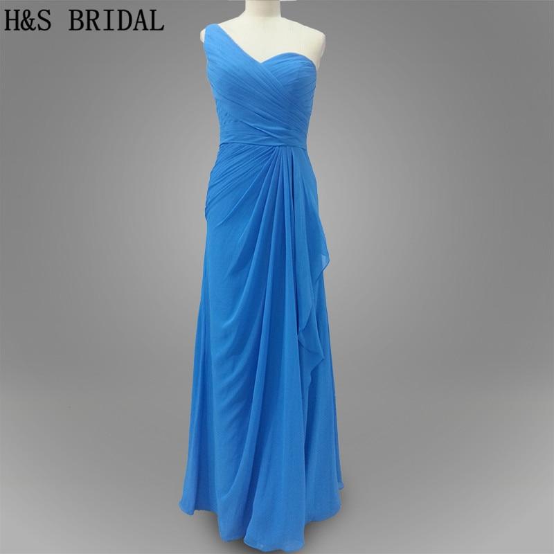 Real Model New Hot Sale Blue color Long Chiffon Wedding Party   Bridesmaid     dress