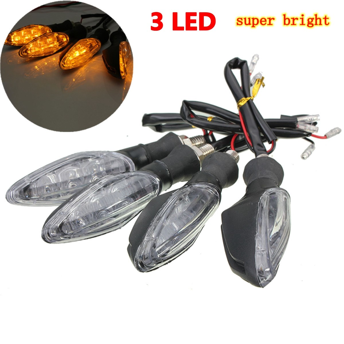 4PCS 12V Universal Black Motorcycle 3 LED Turn Signal Indicator Light Lamp Yellow For Honda/Yamaha/Suzuki/Kawasaki