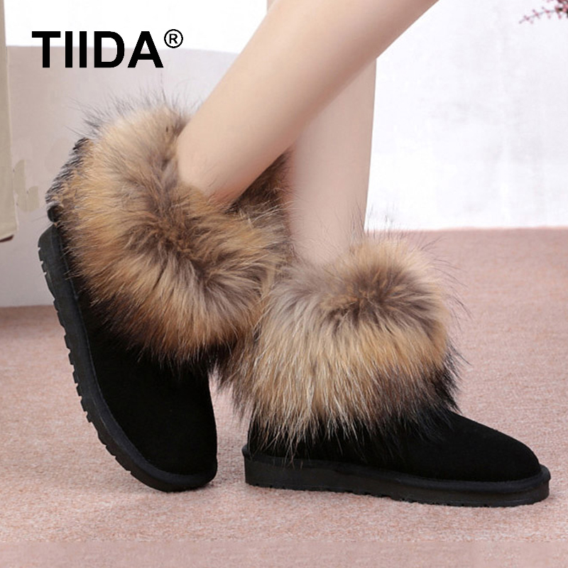 TIIDA Fashion Top Quality Raccoon fur Snow Boots font b Women b font Boots Genuine Leather